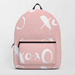 Kisses XOXO Millennial Pink on White Backpack