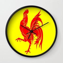 Flag of wallonia - Drapeau wallon,wallonie,Belgique,Belge,Bruxelles,France,Mons,Charleroi,coq,jaune Wall Clock