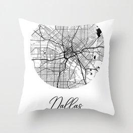 Dallas Area City Map, Dallas Circle City Maps Print, Dallas Black Water City Maps Throw Pillow
