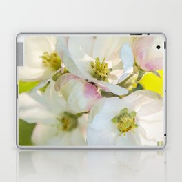 Close-up of Apple tree flowers on a vivid green background - Summer atmosphere Laptop & iPad Skin
