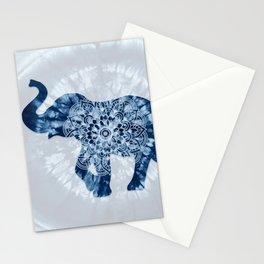 Elephant Mandala Indigo Blue Tie Dye Stationery Cards