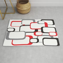 Red Black Gray Retro Square Pattern White Rug