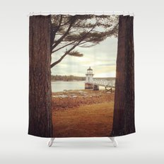 doubling point maine lighthouse shower curtain
