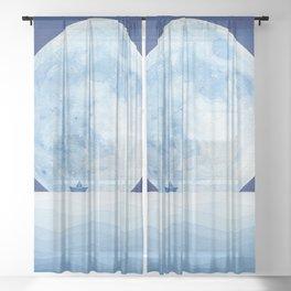 Full moon & paper boat Sheer Curtain