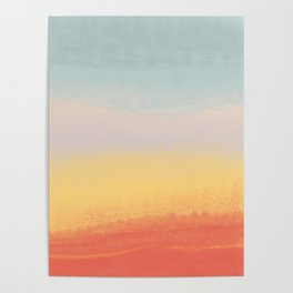 Ceramic Sunset // Multi Color Speckled Drip Summer Beach California Surf Vibes Wall Hanging Design Poster