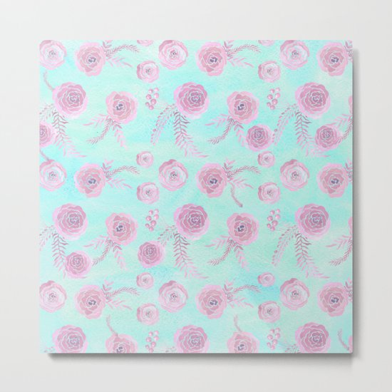 Peony Pattern Pink And Mint Metal Print