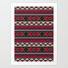 Navajo blanket pattern- red Art Print