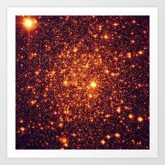 Copper Bronze Glitter Stars Art Print