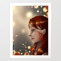 Fire eyes Art Print