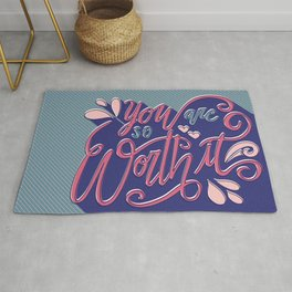 You Are So Worth It - Inspirational and Motivational Lettering Rug