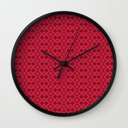 Geometric Diamonds and Circles - Red Hues Wall Clock