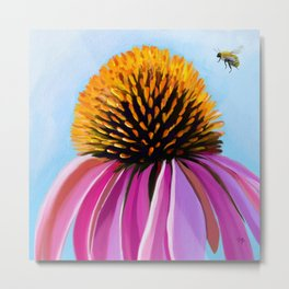 Bee and Coneflower Metal Print