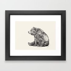 Bear // Graphite Framed Art Print