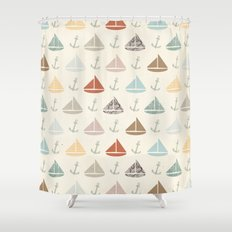 boats and anchors pattern Shower Curtain