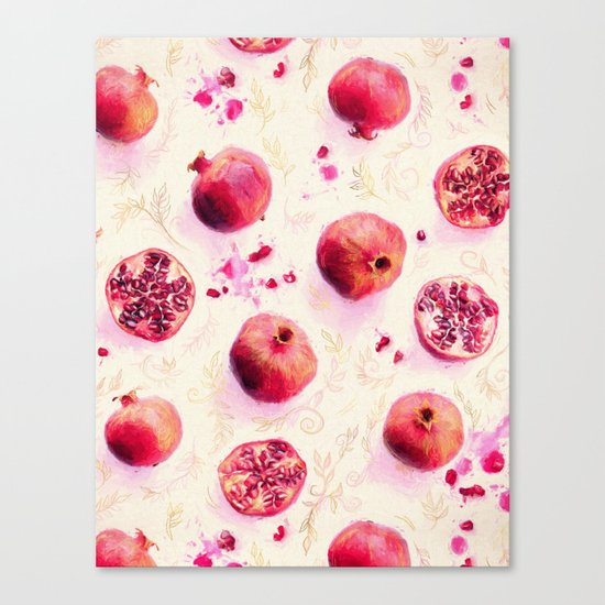 Painted Pomegranates with Gold Leaf Pattern Canvas Print