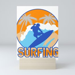 Surfing Surfer Coconut-Tree Water Sport Ocean Gift Mini Art Print