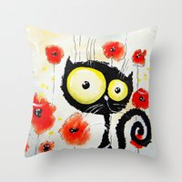 poppies Throw Pillows featuring Poppies  by Katja Main