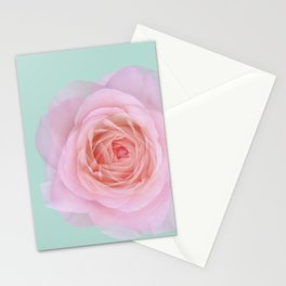 rose by another name: pink ghost on eau de nil Stationery Cards