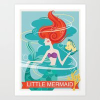 the little mermaid Art Prints featuring Little Mermaid by LindseyCowley