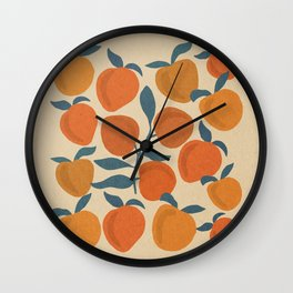 Peaches fruits with leaves mid century 4 Wall Clock