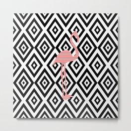 Pink flamingo - abstract geometric pattern - black and white. Metal Print