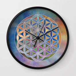 The Flower of Life in the Sky Wall Clock