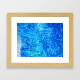 Deep Swimming Blue #buyart #abstract #acrylicart #swimming Framed Art Print