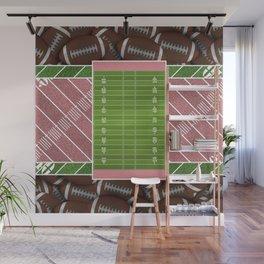 Pink Football Field and Footballs Wall Mural