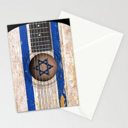 Old Vintage Acoustic Guitar with Israeli Flag Stationery Cards