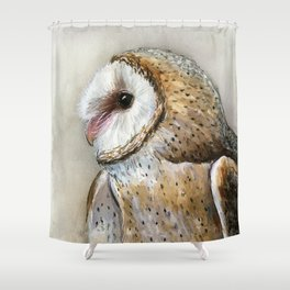 Barn Owl Watercolor, Birds Of Prey Wild Animals Owls Shower Curtain