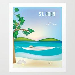 St. John, Virgin Islands - Skyline Illustration by Loose Petal Art Print