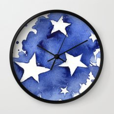 Stars Abstract Blue Watercolor Geometric Painting Wall Clock