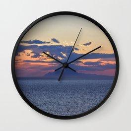 Mount Athos at Sunset Wall Clock