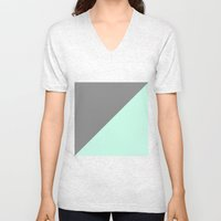 Grey and Mint Half Triangle Unisex V-Neck