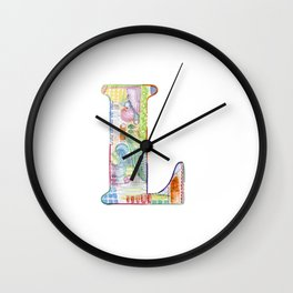 Letter L - Watercolor Monogram - Colorful Lettering - Watercolor Letter Print - Watercolor Initial Wall Clock