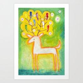 A musical deer Art Print