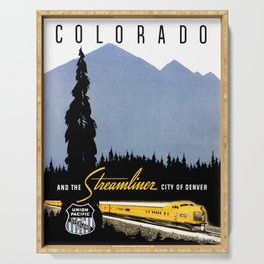 Union Pacific Train poster 1936 - Retouched Version Serving Tray