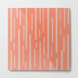 Interrupted Lines Mid-Century Modern Pattern in Coral Blush Pink Metal Print