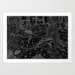 Nocturnal Animals of the Forest Art Print