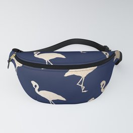 Gold Flamingo Pattern Navy Blue Fanny Pack
