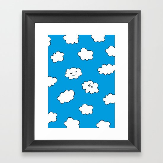 Blue Sky Happy Funny Clouds Framed Art Print