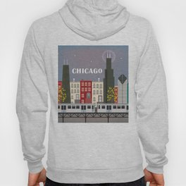 Chicago, Illinois - Skyline Illustration by Loose Petals Hoody