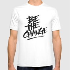 be the change Mens Fitted Tee LARGE White