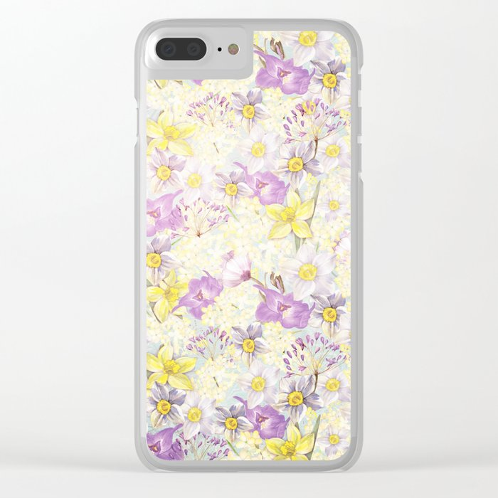 Vintage pattern- Spring in purple and yellow- daffodils and anemones Clear iPhone Case