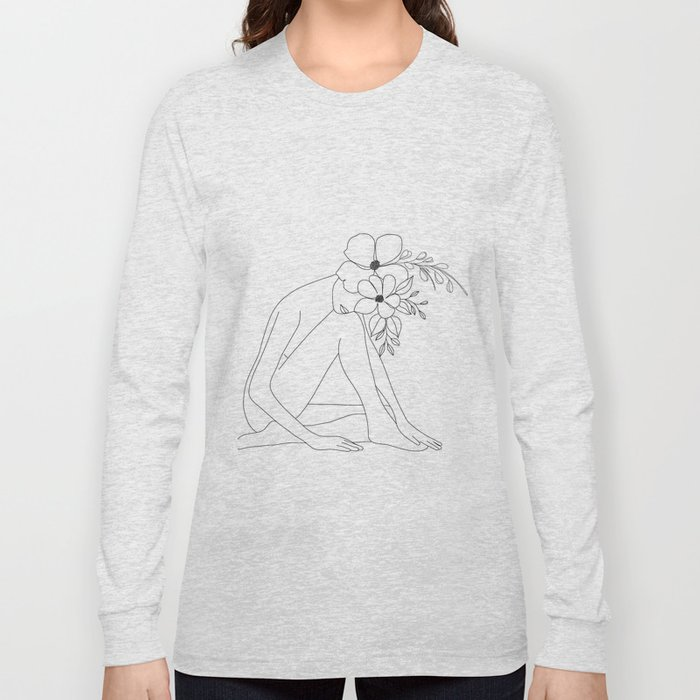 Minimal Line Art Nude Woman with Flowers Long Sleeve T-shirt