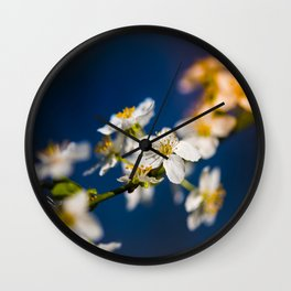 Beautiful White Jasmine Flowers With Green Leaves Against A Blue Background Wall Clock
