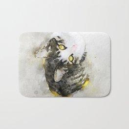 Cute Tabby Cat Watercolor Bath Mat