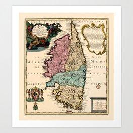 Map Of Corsica 1720 Art Print