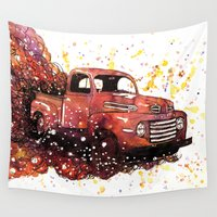 ford Wall Tapestries featuring 1950 ford truck by Beth Jorgensen