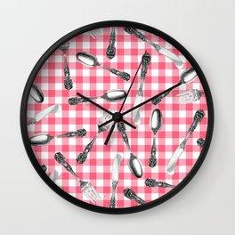 Utensils on Pink Picnic Blanket Wall Clock